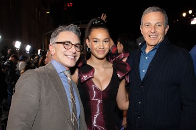 "President of Content and Marketing for Disney+ Ricky Strauss, Sofia Wylie and Disney CEO Bob Iger arrive at the premiere of Lucasfilm's first-ever, live-action series, ""The Mandalorian"", at the El Capitan Theatre in Hollywood, CA on November 13, 2019. ""The Mandalorian"" streams exclusively on Disney+.(photo: Alex J. Berliner/ABImages)"