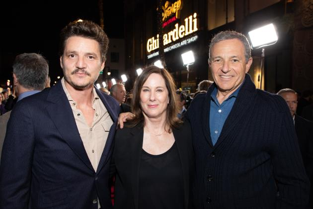 "Pedro Pascal, Executive Producer Kathleen Kennedy and Disney CEO Bob Iger arrive at the premiere of Lucasfilm's first-ever, live-action series, ""The Mandalorian"", at the El Capitan Theatre in Hollywood, CA on November 13, 2019. ""The Mandalorian"" streams exclusively on Disney+.(photo: Alex J. Berliner/ABImages)"