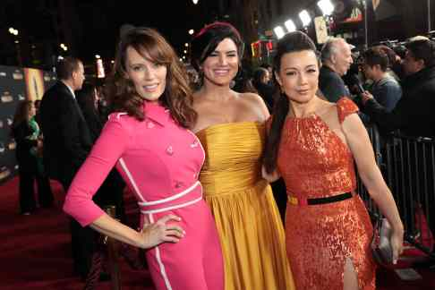 "Emily Swallow, Gina Carano and Ming-Na Wen arrive at the premiere of Lucasfilm's first-ever, live-action series, ""The Mandalorian"", at the El Capitan Theatre in Hollywood, CA on November 13, 2019. ""The Mandalorian"" streams exclusively on Disney+.(photo: Alex J. Berliner/ABImages)"