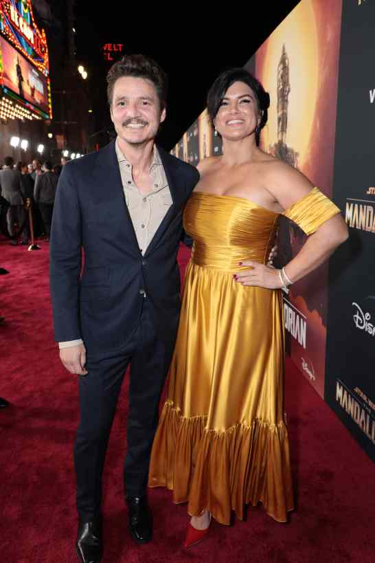 "Pedro Pascal and Gina Carano arrive at the premiere of Lucasfilm's first-ever, live-action series, ""The Mandalorian"", at the El Capitan Theatre in Hollywood, CA on November 13, 2019. ""The Mandalorian"" streams exclusively on Disney+.(photo: Alex J. Berliner/ABImages)"