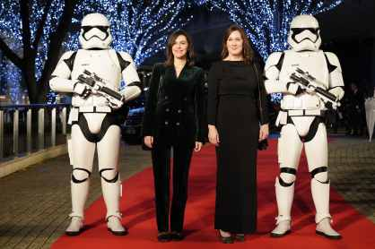 TOKYO, JAPAN - DECEMBER 11: (L-R) Lucasfilm president and producer Kathleen Kennedy and producer Michelle Rejwan with Stormtroopers attend the special fan event for 'Star Wars: The Rise of Skywalker' at Roppongi Hills on December 11, 2019 in Tokyo, Japan. (Photo by Christopher Jue/Getty Images for Disney)