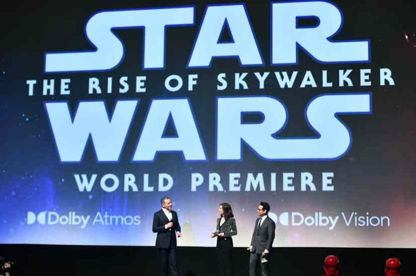 "HOLLYWOOD, CALIFORNIA - DECEMBER 16: (L-R) The Walt Disney Company Chairman and CEO Bob Iger, Producer and President of Lucasfilm Kathleen Kennedy and Director, Writer and Producer J.J. Abrams speak onstage during the World Premiere of ""Star Wars: The Rise of Skywalker"", the highly anticipated conclusion of the Skywalker saga on December 16, 2019 in Hollywood, California. (Photo by Alberto E. Rodriguez/Getty Images for Disney)"
