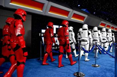 "HOLLYWOOD, CALIFORNIA - DECEMBER 16: Troopers arrive for the World Premiere of ""Star Wars: The Rise of Skywalker"", the highly anticipated conclusion of the Skywalker saga on December 16, 2019 in Hollywood, California. (Photo by Alberto E. Rodriguez/Getty Images for Disney)"