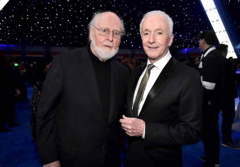 "HOLLYWOOD, CALIFORNIA - DECEMBER 16: (L-R) Composer John Williams and Anthony Daniels attends the World Premiere of ""Star Wars: The Rise of Skywalker"", the highly anticipated conclusion of the Skywalker saga on December 16, 2019 in Hollywood, California. (Photo by Alberto E. Rodriguez/Getty Images for Disney)"
