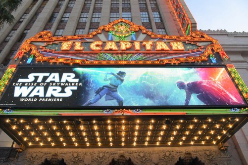"HOLLYWOOD, CALIFORNIA - DECEMBER 16: Marquee is seen at the World Premiere of ""Star Wars: The Rise of Skywalker"", the highly anticipated conclusion of the Skywalker saga on December 16, 2019 in Hollywood, California. (Photo by Charley Gallay/Getty Images for Disney)"