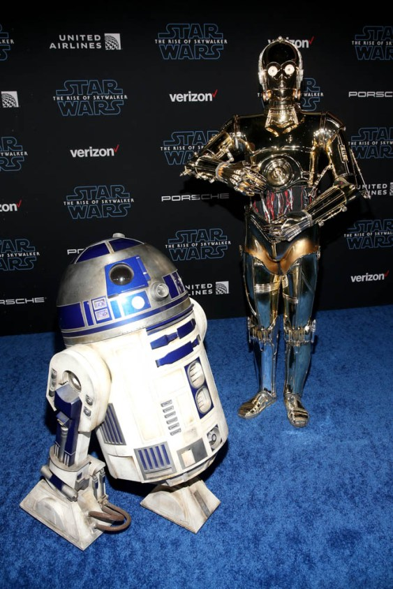 "HOLLYWOOD, CALIFORNIA - DECEMBER 16: (L-R) R2-D2 and C-3PO arrive for the World Premiere of ""Star Wars: The Rise of Skywalker"", the highly anticipated conclusion of the Skywalker saga on December 16, 2019 in Hollywood, California. (Photo by Jesse Grant/Getty Images for Disney)"