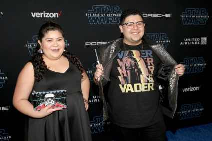 "HOLLYWOOD, CALIFORNIA - DECEMBER 16: Raini Rodriguez and Rico Rodriguez arrive for the World Premiere of ""Star Wars: The Rise of Skywalker"", the highly anticipated conclusion of the Skywalker saga on December 16, 2019 in Hollywood, California. (Photo by Jesse Grant/Getty Images for Disney)"