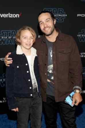 "HOLLYWOOD, CALIFORNIA - DECEMBER 16: (L-R) Bronx Wentz and Pete Wentz arrive for the World Premiere of ""Star Wars: The Rise of Skywalker"", the highly anticipated conclusion of the Skywalker saga on December 16, 2019 in Hollywood, California. (Photo by Jesse Grant/Getty Images for Disney)"