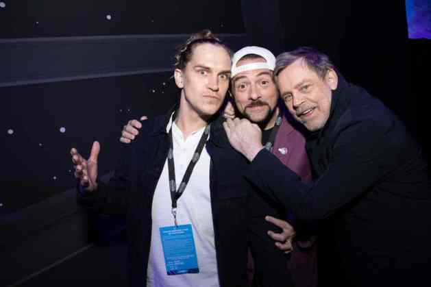 Jason Mewes, Kevin Smith and Mark Hamill arrive for the World Premiere of Star Wars: The Rise of Skywalker, the highly anticipated conclusion of the Skywalker saga, in Hollywood, CA, on December 16, 2019..(photo: Alex J. Berliner/ABImages)