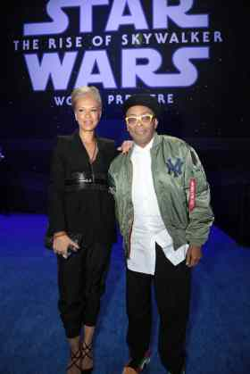 Tonya Lewis Lee and Spike Lee arrive for the World Premiere of Star Wars: The Rise of Skywalker, the highly anticipated conclusion of the Skywalker saga, in Hollywood, CA, on December 16, 2019. (photo: Alex J. Berliner/ABImages)