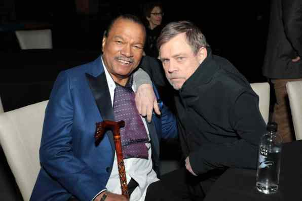 Billy Dee Williams and Mark Hamill arrive for the World Premiere of Star Wars: The Rise of Skywalker, the highly anticipated conclusion of the Skywalker saga, in Hollywood, CA, on December 16, 2019. (photo: Alex J. Berliner/ABImages)