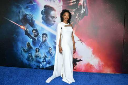 "HOLLYWOOD, CALIFORNIA - DECEMBER 16: Naomi Ackie arrives for the World Premiere of ""Star Wars: The Rise of Skywalker"", the highly anticipated conclusion of the Skywalker saga on December 16, 2019 in Hollywood, California. (Photo by Amy Sussman/Getty Images for Disney)"