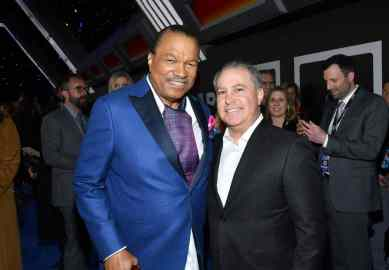 "HOLLYWOOD, CALIFORNIA - DECEMBER 16: Billy Dee Williams and Co-Chairman, The Walt Disney Studios Alan Bergman arrive for the World Premiere of ""Star Wars: The Rise of Skywalker"", the highly anticipated conclusion of the Skywalker saga on December 16, 2019 in Hollywood, California. (Photo by Amy Sussman/Getty Images for Disney)"