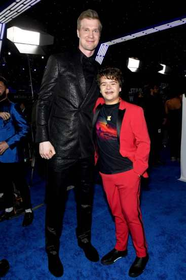"HOLLYWOOD, CALIFORNIA - DECEMBER 16: Joonas Suotamo and Gaten Matarazzo arrive for the World Premiere of ""Star Wars: The Rise of Skywalker"", the highly anticipated conclusion of the Skywalker saga on December 16, 2019 in Hollywood, California. (Photo by Amy Sussman/Getty Images for Disney)"