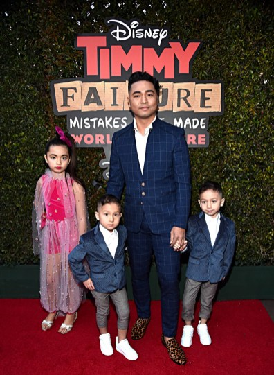 """HOLLYWOOD, CALIFORNIA - JANUARY 30: Nephi Garcia (C) and Lili Garcia, Eddy Garcia and Leo Garcia attend the premiere of Disney's """"Timmy Failure: Mistakes Were Made"""" at Hollywood's El Capitan Theater on January 30, 2020. """"Timmy Failure: Mistakes Were Made"""" premieres on February 7, 2020, streaming only on Disney+. (Photo by Alberto E. Rodriguez/Getty Images for Disney)"""
