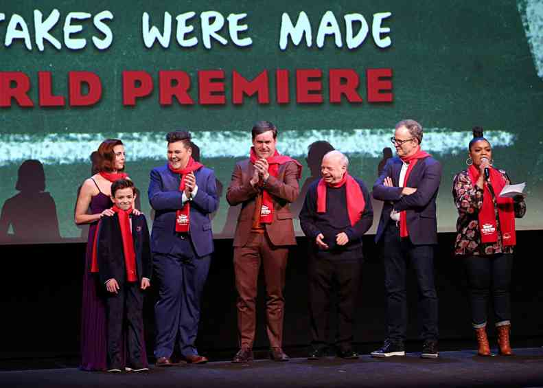 """HOLLYWOOD, CALIFORNIA - JANUARY 30: Ophelia Lovibond, Winslow Fegley, Caitlin Weierhauser, Kyle Bornheimer, Wallace Shawn, Director Tom McCarthy and Yvette Nicole Brown attend the premiere of Disney's """"Timmy Failure: Mistakes Were Made"""" at Hollywood's El Capitan Theater on January 30, 2020. """"Timmy Failure: Mistakes Were Made"""" premieres on February 7, 2020, streaming only on Disney+. (Photo by Jesse Grant/Getty Images for Disney)"""