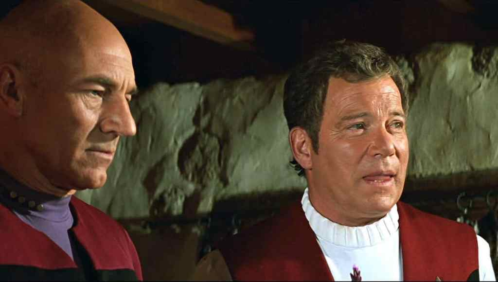 Captains Kirk and Picard in Star Trek: Generations