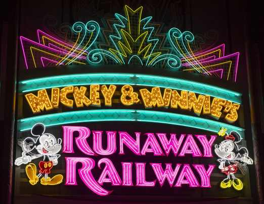 The marquee for Mickey & Minnie's Runaway Railway features blinking bulbs and animated neon depictions of Mickey Mouse and Minnie Mouse welcoming guests into the lobby of the Chinese Theatre at Disney's Hollywood Studios, which is home to the new family-friendly attraction opening March 4, 2020, at Walt Disney World Resort in Lake Buena Vista, Fla. (David Roark, photographer)