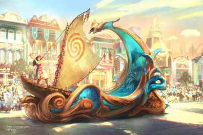 """Set to debut Feb. 28, 2020, at Disneyland Park in California, the new """"Magic Happens"""" parade will come to life with an energetic musical score and a new song co-composed by singer-songwriter Todrick Hall. The parade will feature stunning floats, beautiful costumes, and beloved Disney characters. Depicted in this image on her voyager canoe, Moana journeys forth on the crest of a towering wave, inspired by beautiful koa wood carvings, and inset with dazzling, animated glimpses into the magic the ocean holds. (Disney)"""
