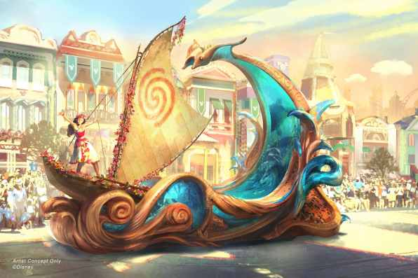 "Set to debut Feb. 28, 2020, at Disneyland Park in California, the new ""Magic Happens"" parade will come to life with an energetic musical score and a new song co-composed by singer-songwriter Todrick Hall. The parade will feature stunning floats, beautiful costumes, and beloved Disney characters. Depicted in this image on her voyager canoe, Moana journeys forth on the crest of a towering wave, inspired by beautiful koa wood carvings, and inset with dazzling, animated glimpses into the magic the ocean holds. (Disney)"