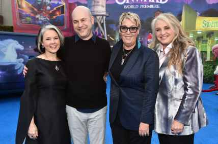 HOLLYWOOD, CALIFORNIA - FEBRUARY 18: (L-R) Michele Scanlon, director/screenwriter Dan Scanlon, producer Kori Rae, and Darla K. Anderson attend the world premiere of Disney and Pixar's ONWARD at the El Capitan Theatre on February 18, 2020 in Hollywood, California. (Photo by Alberto E. Rodriguez/Getty Images for Disney)
