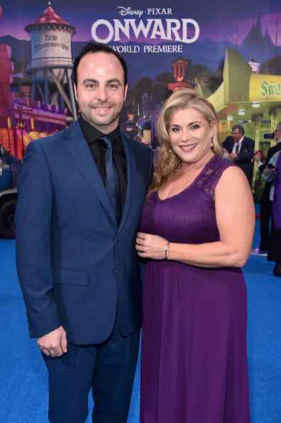 HOLLYWOOD, CALIFORNIA - FEBRUARY 18: (L-R) George Psarras and Michelle Psarras attend the world premiere of Disney and Pixar's ONWARD at the El Capitan Theatre on February 18, 2020 in Hollywood, California. (Photo by Alberto E. Rodriguez/Getty Images for Disney)