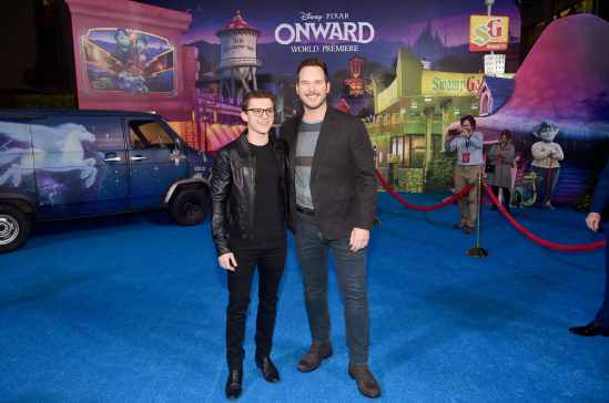 HOLLYWOOD, CALIFORNIA - FEBRUARY 18: (L-R) Tom Holland and Chris Pratt attend the world premiere of Disney and Pixar's ONWARD at the El Capitan Theatre on February 18, 2020 in Hollywood, California. (Photo by Alberto E. Rodriguez/Getty Images for Disney)