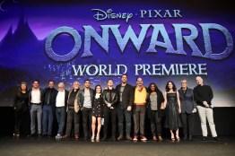 HOLLYWOOD, CALIFORNIA - FEBRUARY 18: (L-R) Tracey Ullman, Kyle Bornheimer, George Psarras, Dave Foley, John Ratzenberger, Wilmer Valderrama, Ali Wong, Tom Holland, Chris Pratt, Mel Rodriguez, Octavia Spencer, Julia Louis-Dreyfus, Producer Kori Rae, and Director/screenwriter Dan Scanlon speak onstage at the world premiere of Disney and Pixar's ONWARD at the El Capitan Theatre on February 18, 2020 in Hollywood, California. (Photo by Alberto E. Rodriguez/Getty Images for Disney)