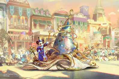 """Set to debut Feb. 28, 2020, at Disneyland Park in California, the new """"Magic Happens"""" parade will celebrate the awe-inspiring moments of magic that are at the heart of so many Disney stories. This new daytime spectacular will feature stunning floats, beautiful costumes, and beloved Disney characters. Mickey Mouse leads the way, gliding along on glistening swirls of magic emanating from a giant, iridescent magical hat. (Disney)"""