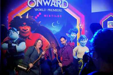 HOLLYWOOD, CALIFORNIA - FEBRUARY 18: Story Supervisor Kelsey Mann (R) and guest attend the world premiere of Disney and Pixar's ONWARD at the El Capitan Theatre on February 18, 2020 in Hollywood, California. (Photo by Charley Gallay/Getty Images for Disney)