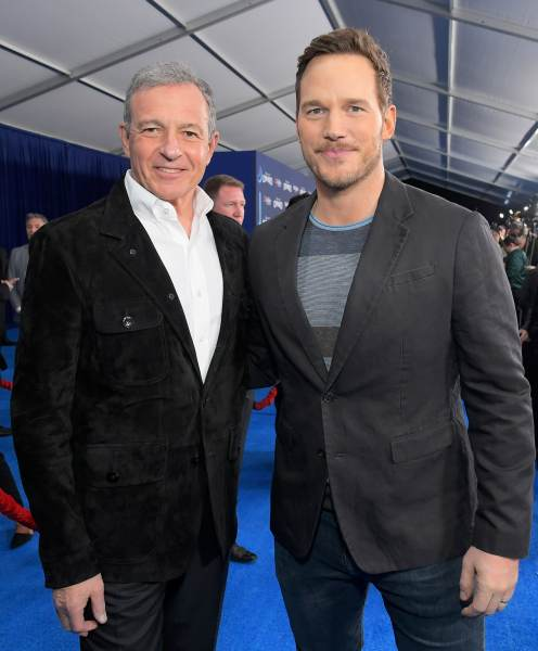 HOLLYWOOD, CALIFORNIA - FEBRUARY 18: The Walt Disney Company Chairman and CEO Bob Iger and Chris Pratt attend the world premiere of Disney and Pixar's ONWARD at the El Capitan Theatre on February 18, 2020 in Hollywood, California. (Photo by Charley Gallay/Getty Images for Disney)