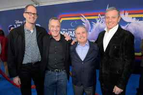 HOLLYWOOD, CALIFORNIA - FEBRUARY 18: (L-R) Executive producer Pete Docter, President of Pixar Animation Studios Jim Morris, Co-Chairman, The Walt Disney Studios Alan Bergman, and The Walt Disney Company Chairman and CEO Bob Iger attend the world premiere of Disney and Pixar's ONWARD at the El Capitan Theatre on February 18, 2020 in Hollywood, California. (Photo by Charley Gallay/Getty Images for Disney)