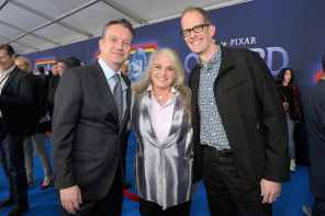 HOLLYWOOD, CALIFORNIA - FEBRUARY 18: (L-R) President of Walt Disney Studios Motion Picture Production Sean Bailey, Darla K. Anderson, and Executive producer Pete Docter attend the world premiere of Disney and Pixar's ONWARD at the El Capitan Theatre on February 18, 2020 in Hollywood, California. (Photo by Charley Gallay/Getty Images for Disney)
