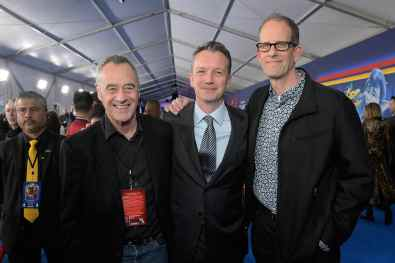HOLLYWOOD, CALIFORNIA - FEBRUARY 18: (L-R) President of Pixar Animation Studios Jim Morris, President of Walt Disney Studios Motion Picture Production Sean Bailey, and Executive producer Pete Docter attend the world premiere of Disney and Pixar's ONWARD at the El Capitan Theatre on February 18, 2020 in Hollywood, California. (Photo by Charley Gallay/Getty Images for Disney)