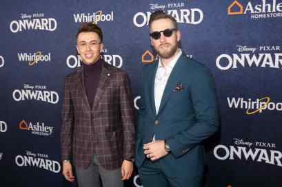 HOLLYWOOD, CALIFORNIA - FEBRUARY 18: (L-R) Blake Scott and George LaBoda attend the world premiere of Disney and Pixar's ONWARD at the El Capitan Theatre on February 18, 2020 in Hollywood, California. (Photo by Jesse Grant/Getty Images for Disney)