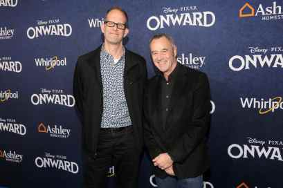 HOLLYWOOD, CALIFORNIA - FEBRUARY 18: (L-R) Executive producer Pete Docter and President of Pixar Animation Studios Jim Morris attend the world premiere of Disney and Pixar's ONWARD at the El Capitan Theatre on February 18, 2020 in Hollywood, California. (Photo by Jesse Grant/Getty Images for Disney)