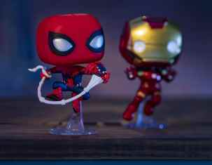 Super Heroes-in-training at Avengers Campus at Disneyland Resort in Anaheim, California, will be able to add to their Super Hero memorabilia with the Disneyland Resort-exclusive Funko Pop! vinyl figurines, including Spider-Man with Spider-Bots that have run amuck throughout Avengers Campus (left) and Iron Man. Avengers Campus opens July 18, 2020. (David Roark/Disneyland Resort)
