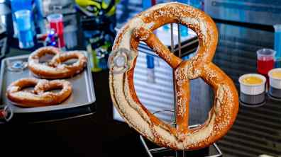 At Pym Test Kitchen in Avengers Campus inside Disney California Adventure Park in Anaheim, California, even the food and drinks tell a story. Just as Ant-Man and The Wasp used shrinking and growing technology, Pym Test Kitchen applies this science to innovative food. Experiment No. IP42: Quantum Pretzel features a pretzel that has been enlarged by a quantum tunnel and comes with mustard and beer cheese dipping sauce. Avengers Campus opens July 18, 2020. (David Nguyen/Disneyland Resort)