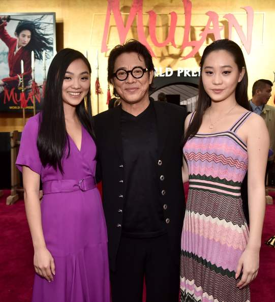 HOLLYWOOD, CALIFORNIA - MARCH 09: (L-R) Jane Li, Jet Li, and Jada Li attend the World Premiere of Disney's 'MULAN' at the Dolby Theatre on March 09, 2020 in Hollywood, California. (Photo by Alberto E. Rodriguez/Getty Images for Disney)