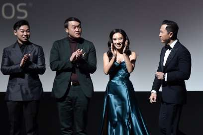 HOLLYWOOD, CALIFORNIA - MARCH 09: (L-R) Jun Yu, Doua Moua, Xana Tang, and Donnie Yen speak onstage at the World Premiere of Disney's 'MULAN' at the Dolby Theatre on March 09, 2020 in Hollywood, California. (Photo by Alberto E. Rodriguez/Getty Images for Disney)