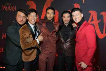 HOLLYWOOD, CALIFORNIA - MARCH 09: (L-R) Doua Moua, Jimmy Wong, Yoson An, Nelson Lee, and Chen Tang attend the World Premiere of Disney's 'MULAN' at the Dolby Theatre on March 09, 2020 in Hollywood, California. (Photo by Charley Gallay/Getty Images for Disney)