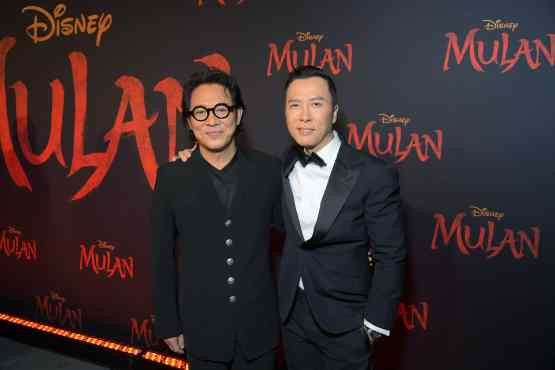 HOLLYWOOD, CALIFORNIA - MARCH 09: (L-R) Jet Li and Donnie Yen attend the World Premiere of Disney's 'MULAN' at the Dolby Theatre on March 09, 2020 in Hollywood, California. (Photo by Charley Gallay/Getty Images for Disney)