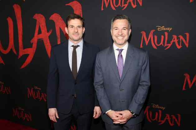 HOLLYWOOD, CALIFORNIA - MARCH 09: (L-R) Producers Chris Bender and Jake Weiner attend the World Premiere of Disney's 'MULAN' at the Dolby Theatre on March 09, 2020 in Hollywood, California. (Photo by Jesse Grant/Getty Images for Disney)