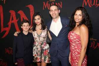 HOLLYWOOD, CALIFORNIA - MARCH 09: (L-R) Joaquin Faden, Joelle Faden, Felicia Faden, and VFX Supervisor Sean Faden attend the World Premiere of Disney's 'MULAN' at the Dolby Theatre on March 09, 2020 in Hollywood, California. (Photo by Jesse Grant/Getty Images for Disney)