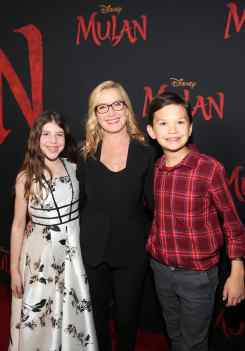 HOLLYWOOD, CALIFORNIA - MARCH 09: (L-R) Isabel Ruby Lieberstein, Angela Kinsey, and Jack Snyder attend the World Premiere of Disney's 'MULAN' at the Dolby Theatre on March 09, 2020 in Hollywood, California. (Photo by Jesse Grant/Getty Images for Disney)