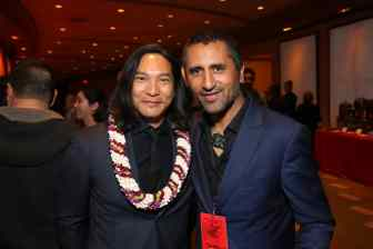 HOLLYWOOD, CALIFORNIA - MARCH 09: Jason Scott Lee and Cliff Curtis attend the World Premiere of Disney's 'MULAN' at the Dolby Theatre on March 09, 2020 in Hollywood, California. (Photo by Jesse Grant/Getty Images for Disney)
