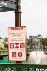 Signage at Disney Springs at Walt Disney World Resort in Lake Buena Vista, Fla., reminds guests of new health and safety protocols in place when the shopping, dining and entertainment district reopens May 20, 2020. While visiting Disney Springs, guests must maintain physical distancing and those 3 years of age and older must wear a face covering at all times, among other new guidelines. (Olga Thompson, photographer)
