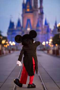 Mickey Mouse walks down Main Street, U.S.A. just before sunrise prior to the phased reopening of Magic Kingdom Park, July 11, 2020, at Walt Disney World Resort in Lake Buena Vista, Fla. (Kent Phillips, photographer)