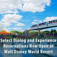 Select Dining and Experience Reservations Now Open at Walt Disney World Resort