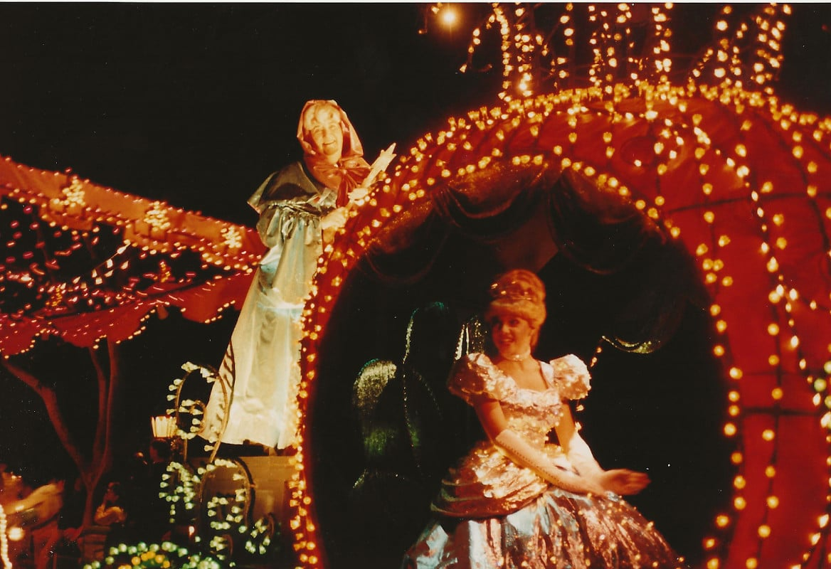 Cinderella's pumpkin coach had a special platform for her Fairy Godmother to hitch a ride.